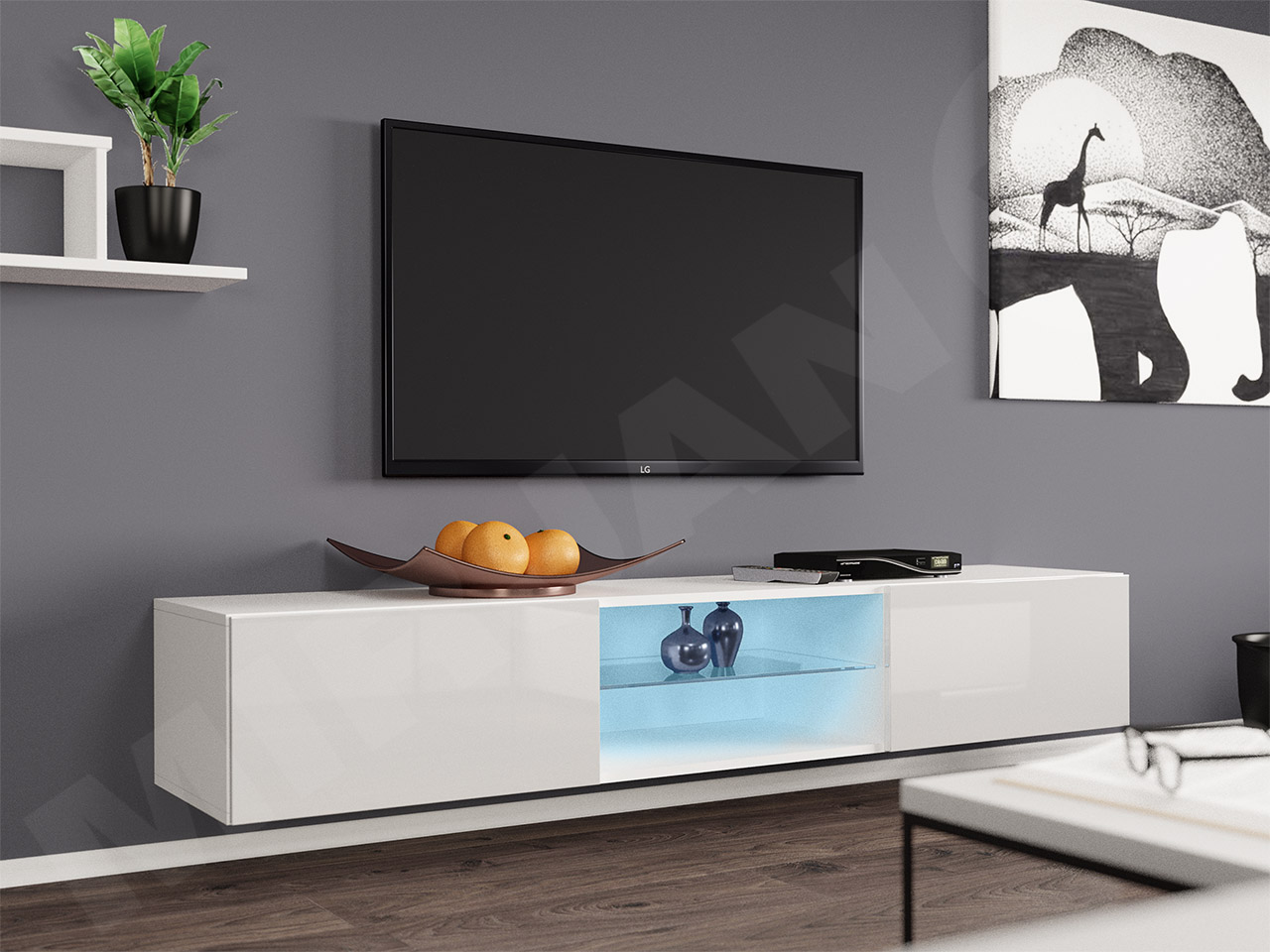 Fernsehschrank Tv Board Saturn Glas Lowboard Hangeschrank Tv